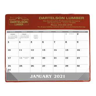 Customized Good Value™ Small Vinyl Desk Pad Calendar