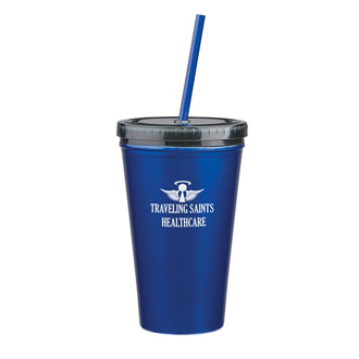 Customized 16 Oz Stainless Steel Double Wall Tumbler w/ Straw