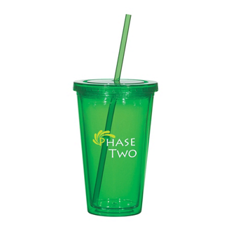Customized 16 Oz Double Wall Acrylic Tumbler with Straw