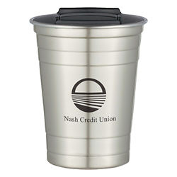 Customized Stainless Steel Cup with Slide-Action Lid - 16 Oz