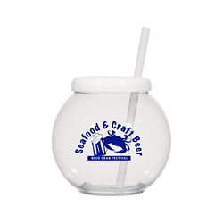 Customized Fish Bowl Cup with Straw - 20 oz