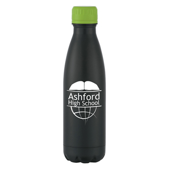 Customized Matte Black Stainless Steel Vacuum Bottle - 16 oz