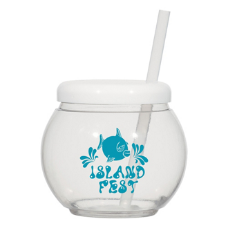 Customized Fish Bowl Cup with Straw - 46 oz