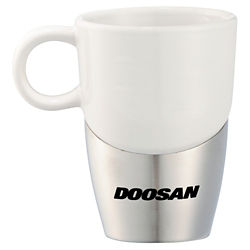Customized Double Dipper Ceramic Mug with Stainless Base 11oz