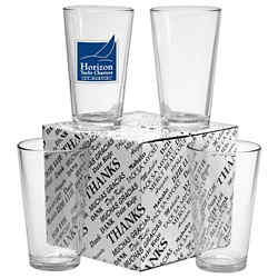 Customized Thank You Set of 4 Mixing Glasses