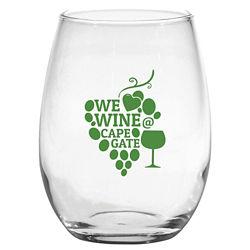 Customized Stemless White Wine Glass - 15 oz