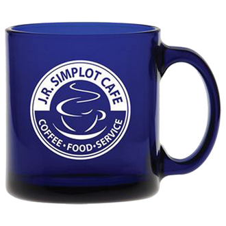 Customized Midnight Blue Glass Coffee Mug - 13 oz
