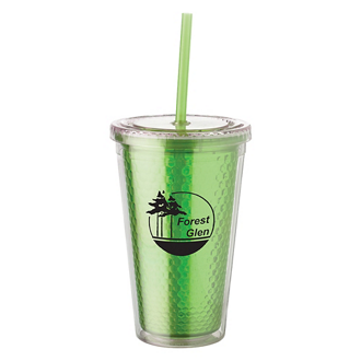 Customized Double-Walled Honeycomb Tumbler with Straw - 16 oz