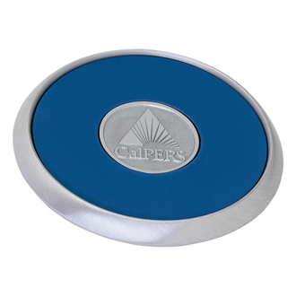 Customized Jaffa® Round Brushed Zinc Coaster