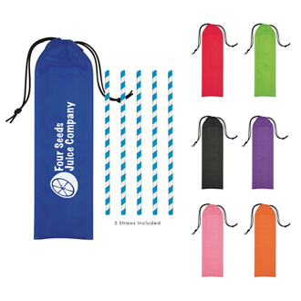 Customized 5 Pack Paper Straws in Pouch