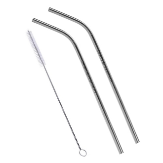 Customized 2-Pack Bent Stainless Steel Liv Straw - Silver