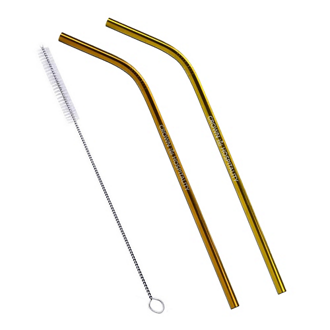 Customized 2-Pack Bent Stainless Steel Liv Straw-Copper/Gold