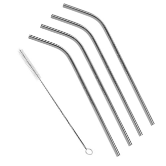 Customized 4-Pack Bent Stainless Steel Liv Straw - Silver
