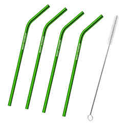Customized 4-Pack Bent Stainless Steel Liv Straw - Green
