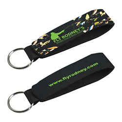 Customized Neoprene Wristband with Key Ring - Full Colour