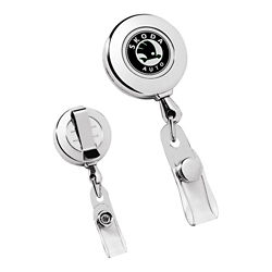 Customized Circle Chrome Retractable Badge Holder