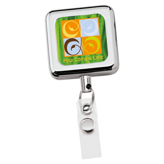 Customized Square Metal Retractable Badge Holder-Full Color