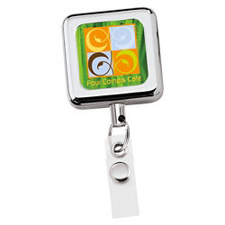 Customized Square Metal Retractable Badge Holder-Full Colour