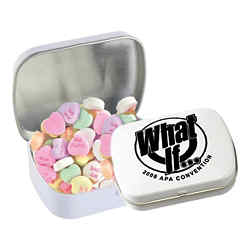 Customized Domed Tin - Imprinted Conversation Hearts