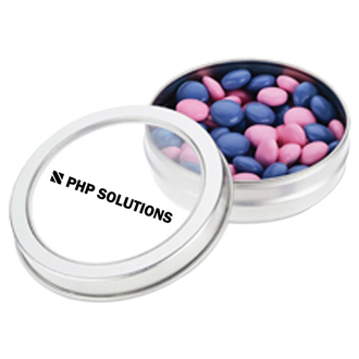 Customized Small Top View Tin - Chocolate Buttons