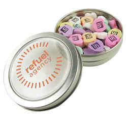 Customized Small Top View Tin - Imprinted Conversation Hearts