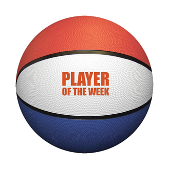 Customized Red, White & Blue Mini Rubber Basketball