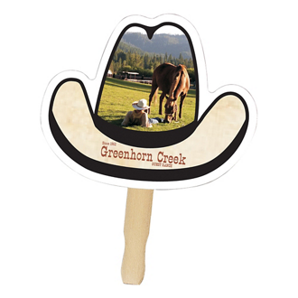 Customized Full Color Cowboy Hat Hand Fan