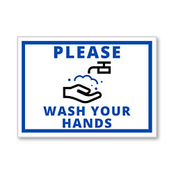 Customized 5''x7'' Please Wash Your Hands Permanent Label