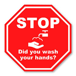 Customized 8''x8'' Stop & Wash Your Hands Permanent Label