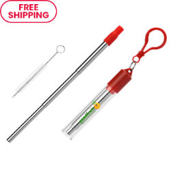 Customized Britebrand™ Retractable Stainless Steel Straw Kit