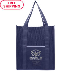 Customized Large Shopping Tote with Wave Pattern & Metallic Imprint