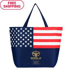 Customized Tote Bag with Patriotic Flag & Metallic Imprint
