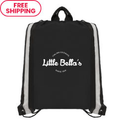 Customized Polyester Drawstring Bag with Reflective Stripes