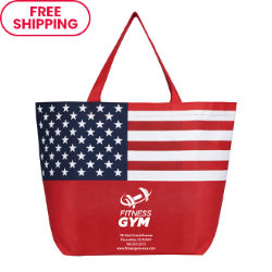 Customized Tote Bag with Patriotic Flag