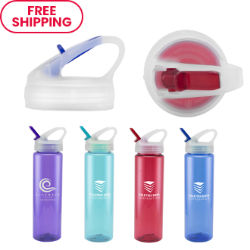 Customized Translucent Flip Top Water Bottle - 32 oz