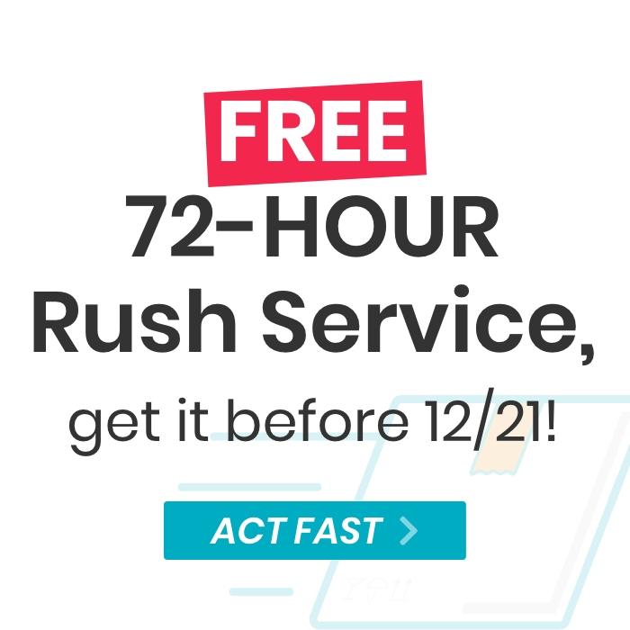 Free 72 Hour Rush Service