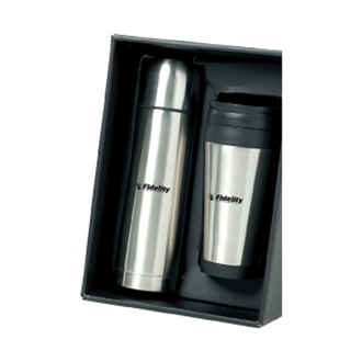 Customized The On The Go SS Flask & Tumbler Gift Set
