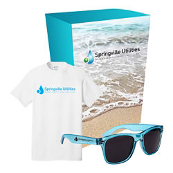 Customized Port & Company® T-Shirt/Sunglasses Set/Custom Box
