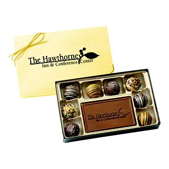 Customized 8 Piece Truffle Box w/ Chocolate Centerpiece