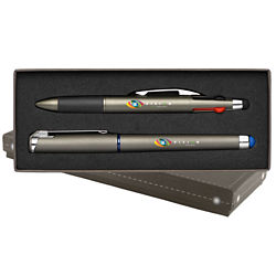 Customized Accent Gelebration™ Gel Pen & Lucina 4-Ink Pen Gift Set