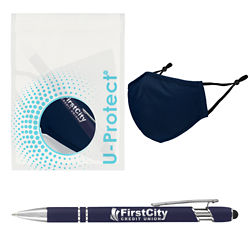 Customized Alpha Soft Touch Pen with Stylus® with Antimicrobial Additive, Mask & U-Protect™ Bag