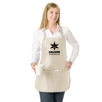 Customized Natural or White Apron with Pouch - Medium Length