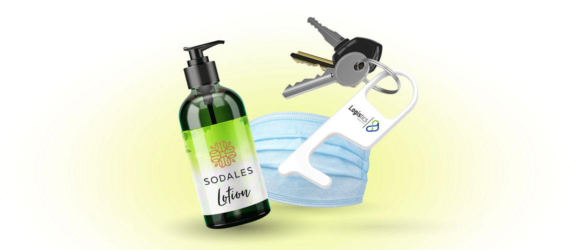 Custom Logo Lotion, Mask, and No-Touch Tool Hero of Health and Personal Care Items