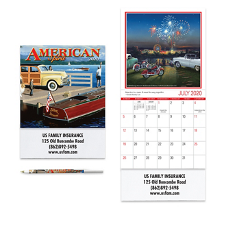 Customized American Spirit Mini Wall Calendar w/ Matching Pen