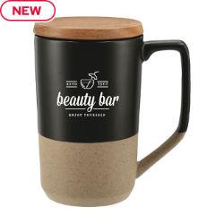 Customized 16 oz. Tahoe Tea & Coffee Ceramic Mug with Wood Lid