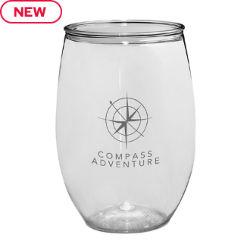 Customized 16 oz. Stemless Plastic Wine Glass