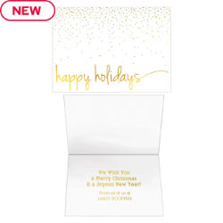 Customized Glimmering Happy Holidays Card
