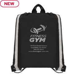 Customized Drawstring Bag with Reflective Stripes & Silver Imprint
