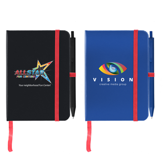 Customized Full Color Inkjet Jane Journal with Contrasting Strap & Matching Pen