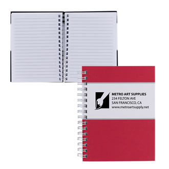 Customized Coloured Spiral Notebook with Silver Trim